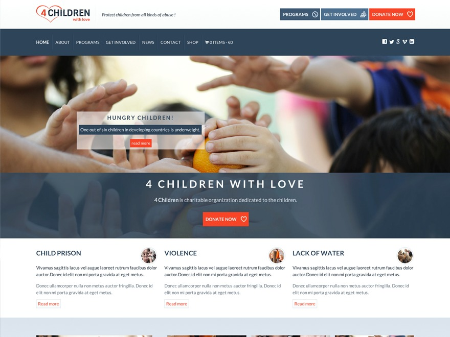 4 Children with Love WordPress Theme template WordPress