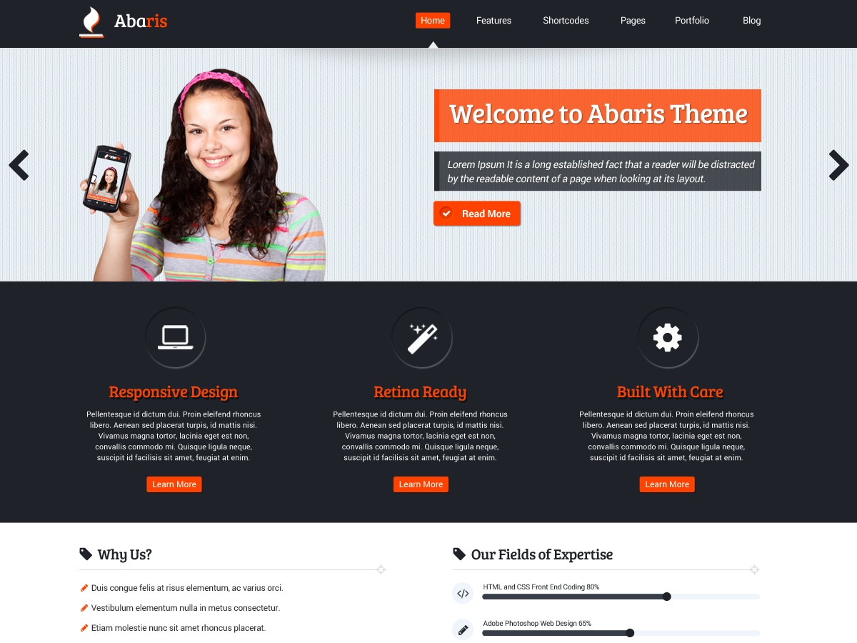 Abaris free WordPress theme