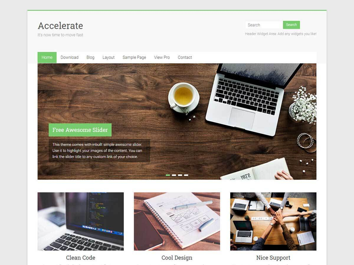 Accelerate WordPress portfolio template