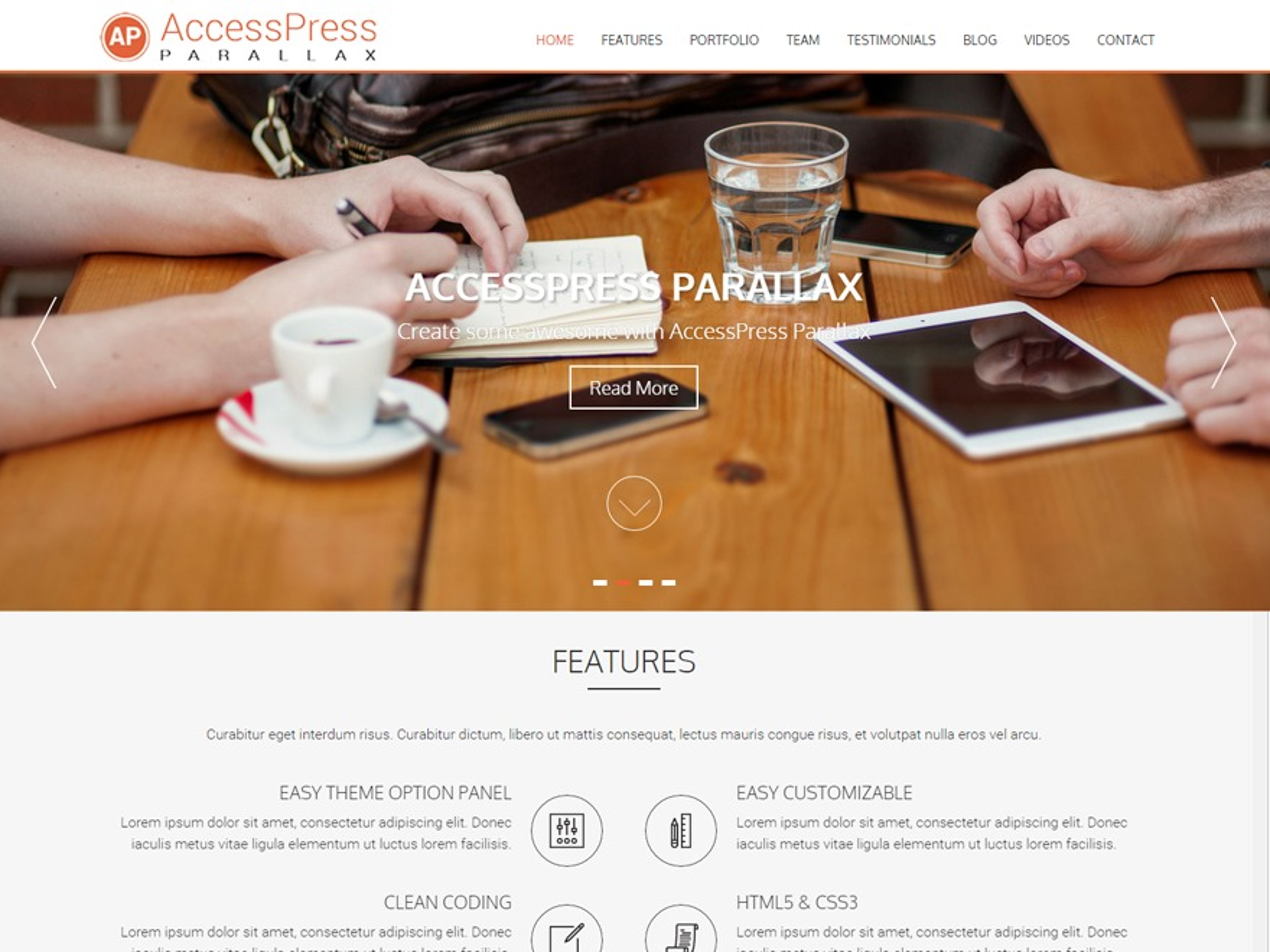 AccessPress Parallax WordPress blog theme