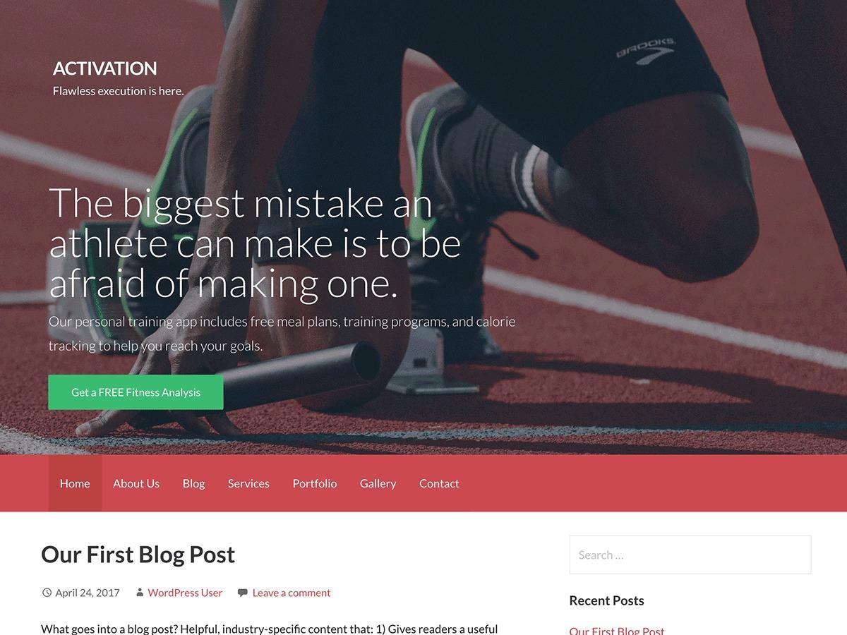 Activation gym WordPress theme