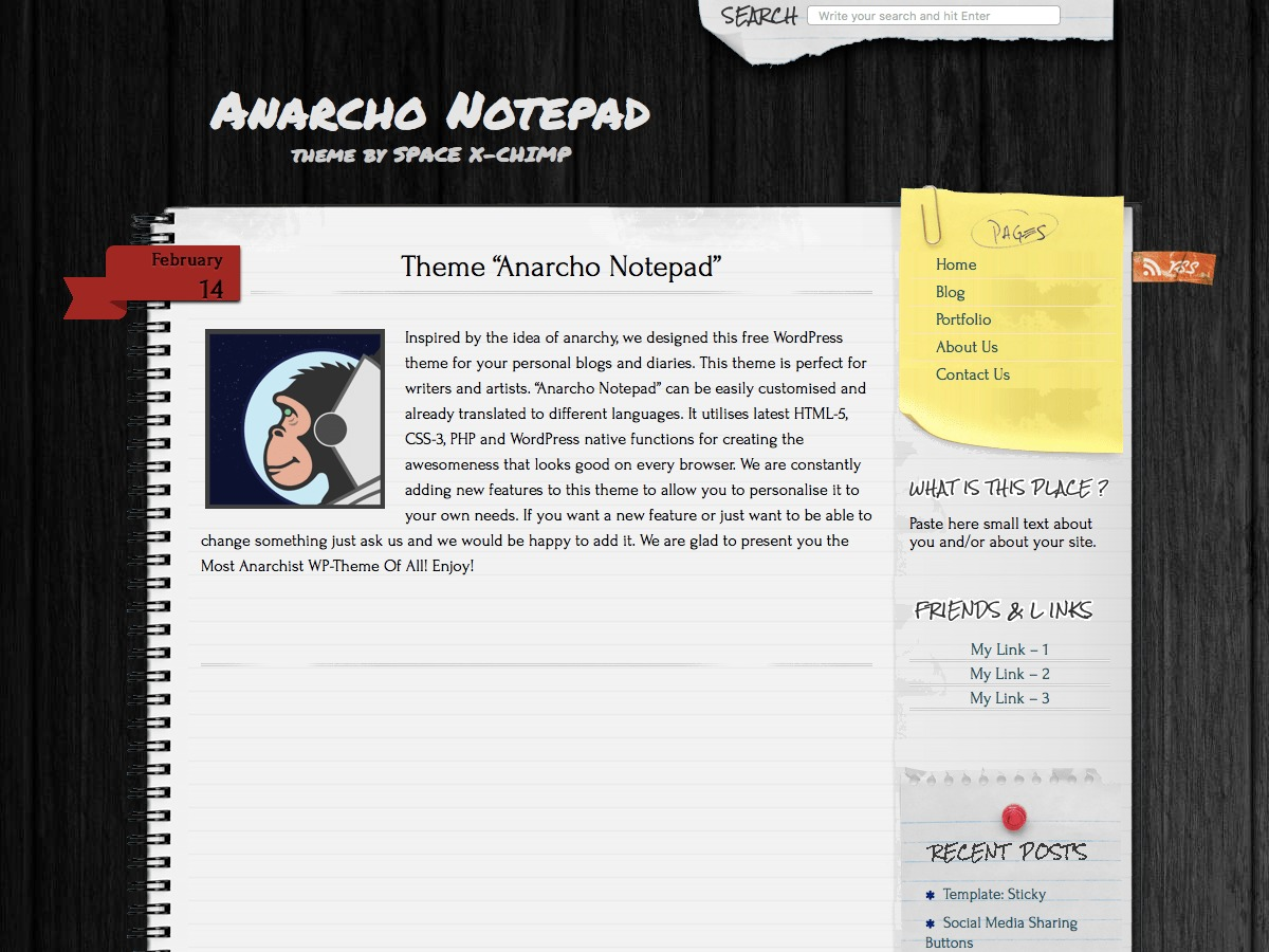 Anarcho Notepad WordPress template free download