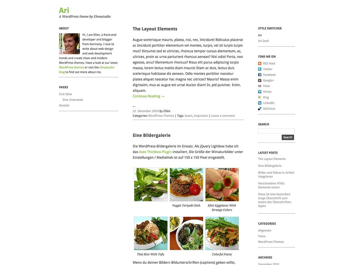 Ari free website theme