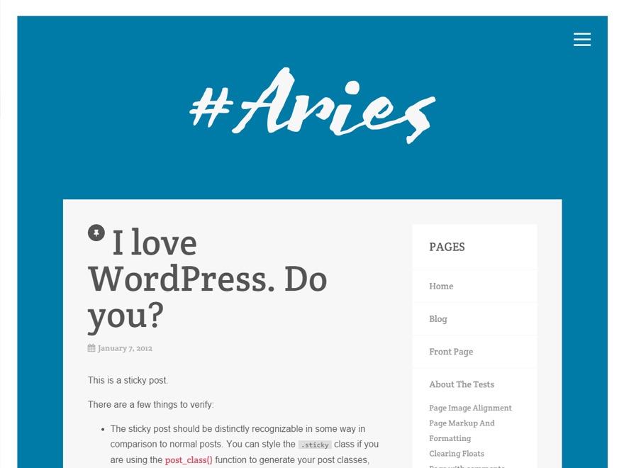 Aries WordPress portfolio template