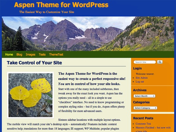 Aspen WordPress template