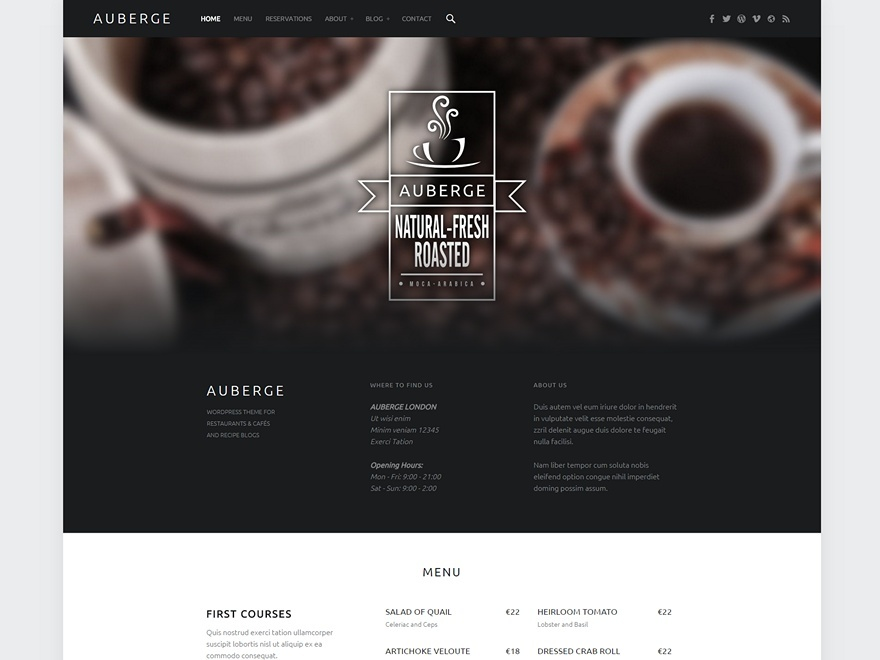 Auberge free website theme