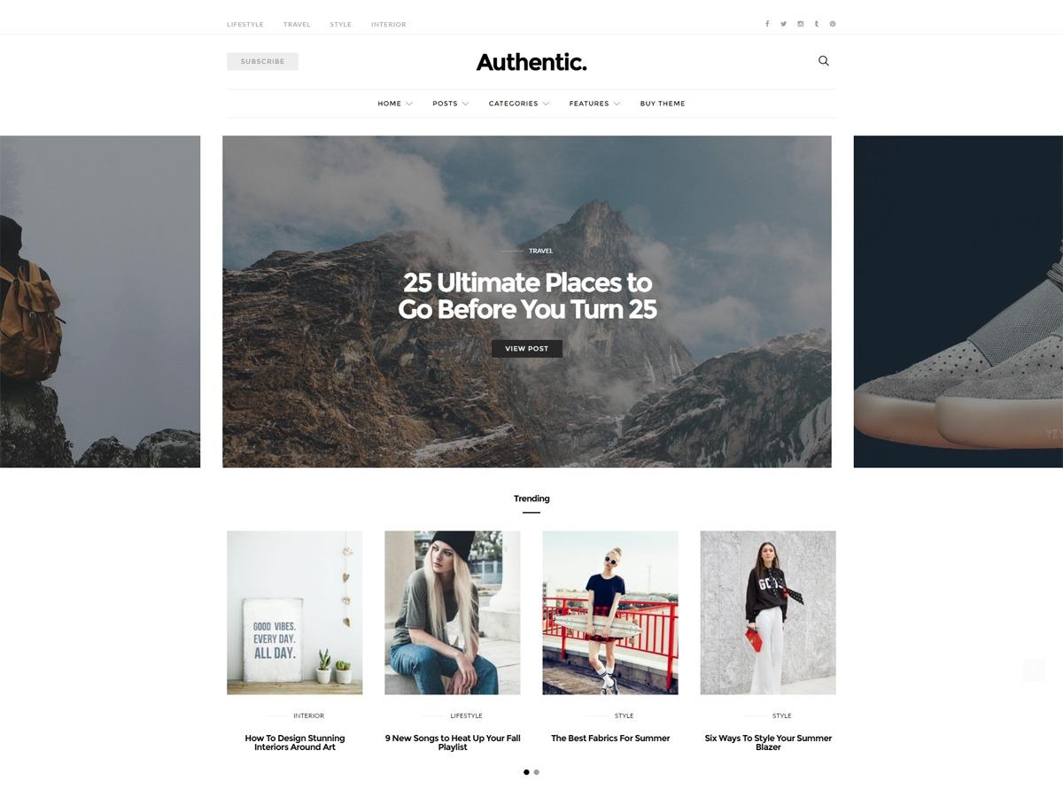 Authentic WordPress blog theme