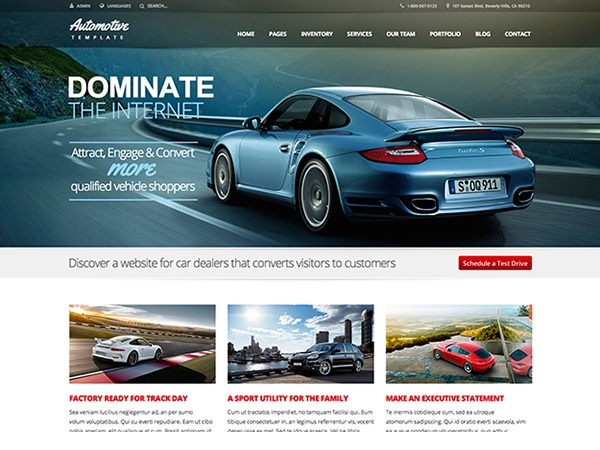 Automotive company WordPress theme