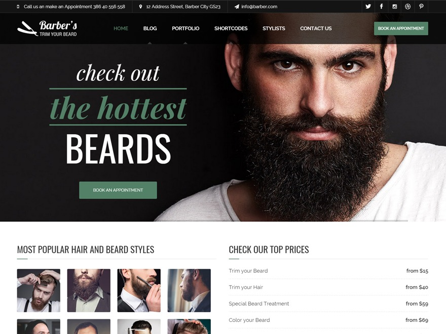 Barber - Wordpress Theme WordPress website template