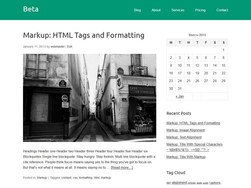 Beta WordPress theme