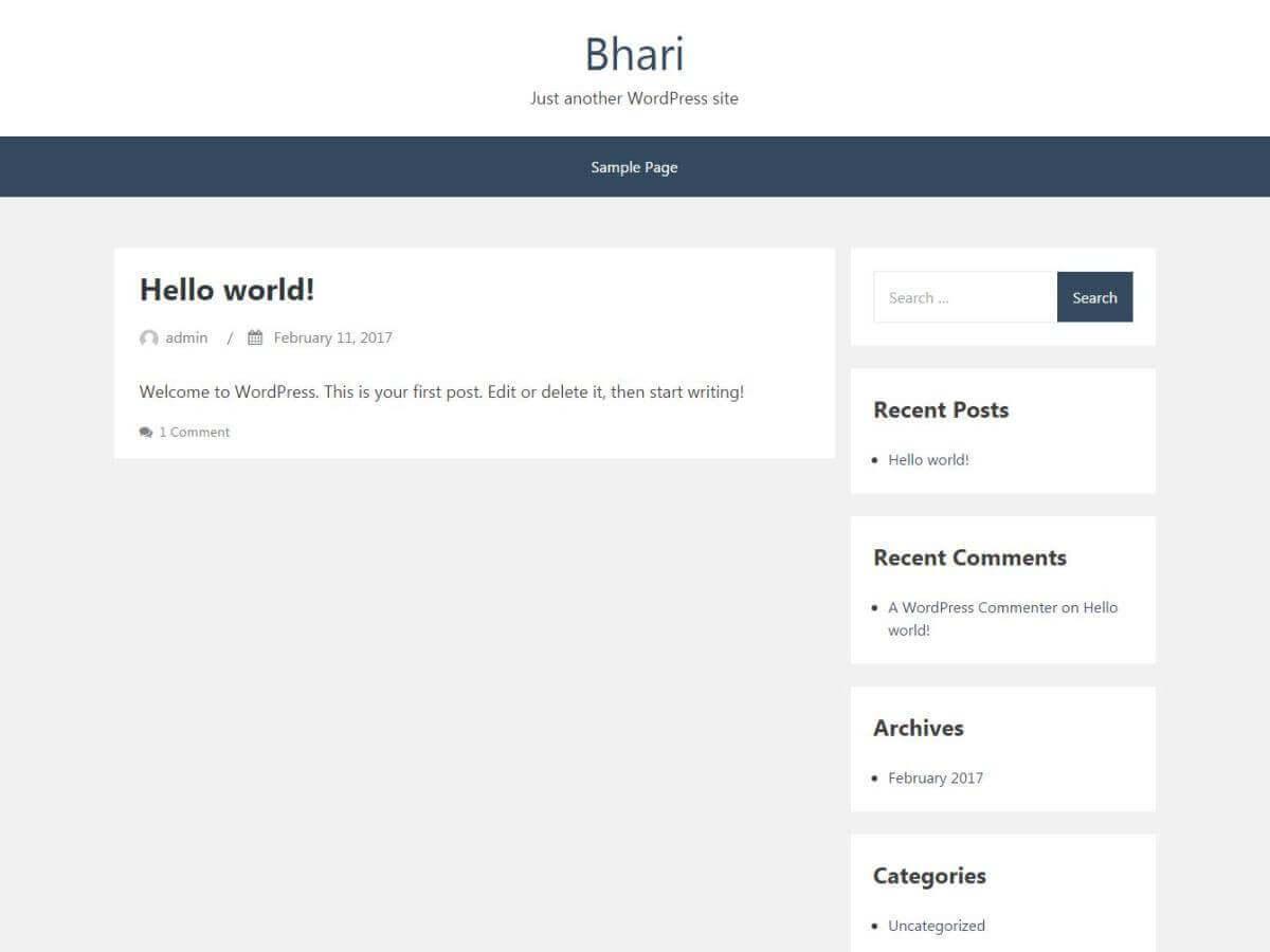 Bhari best free WordPress theme