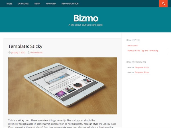 Bizmo WordPress shop theme