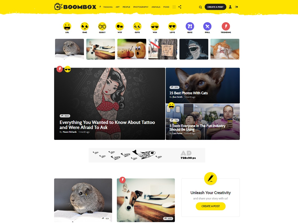 Boombox WordPress news template