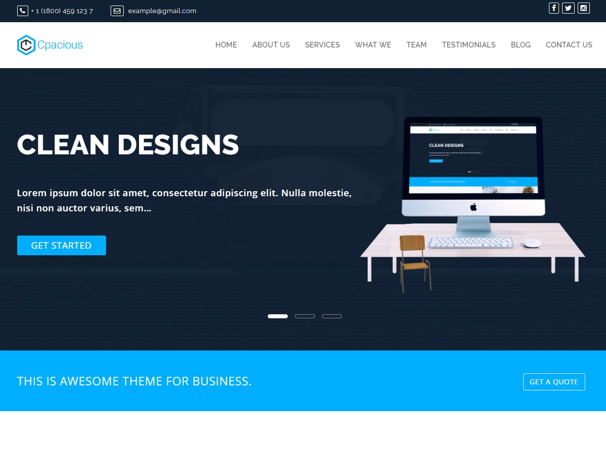 Capacious business WordPress theme