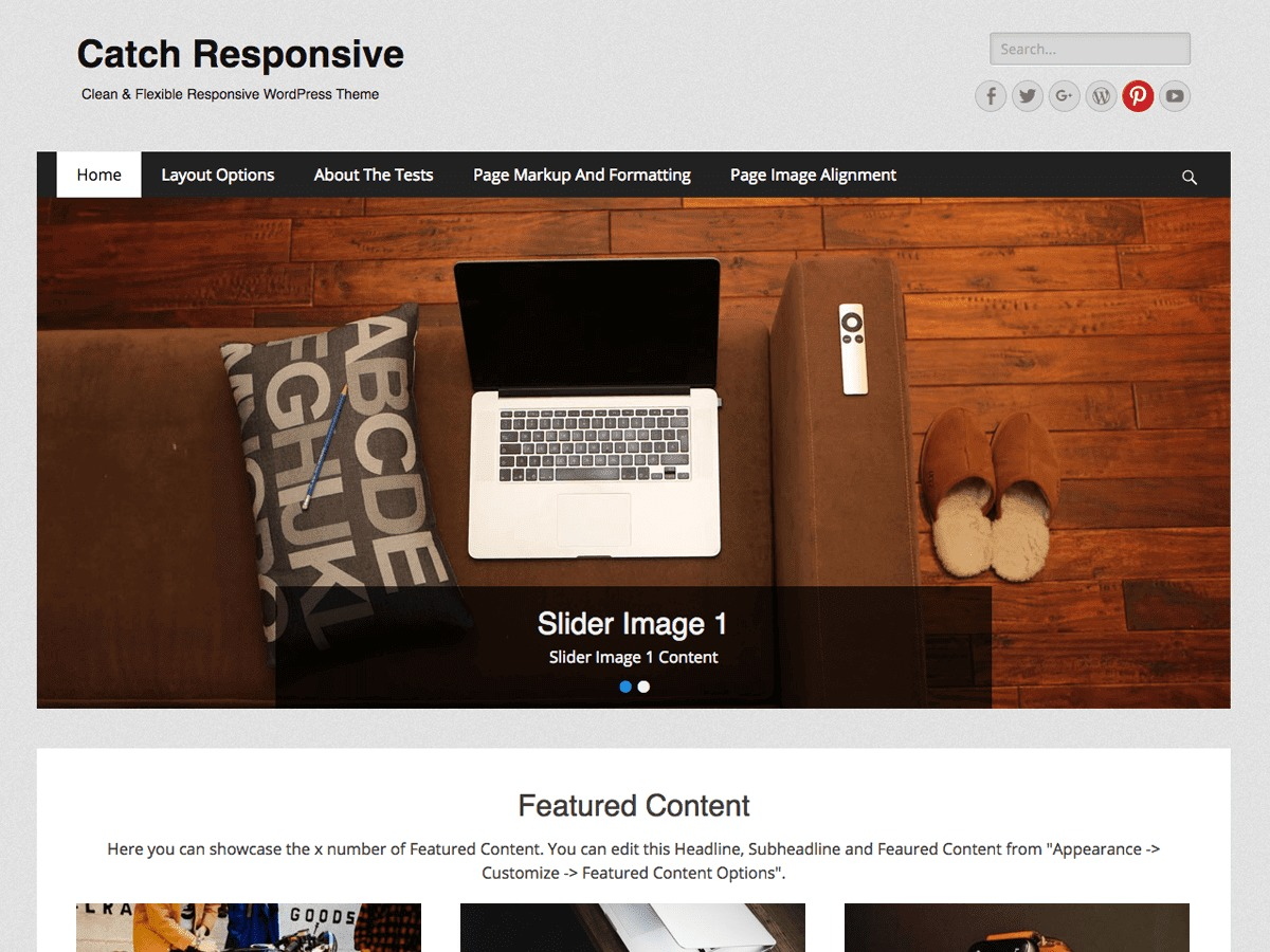Catch Responsive template WordPress free