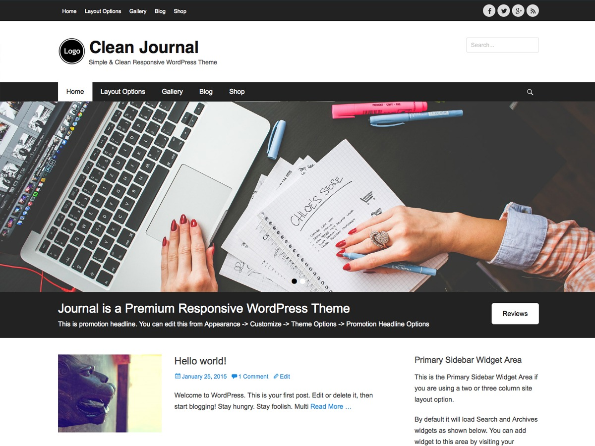 Clean Journal free WordPress theme