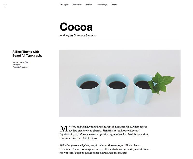 Cocoa WordPress blog template