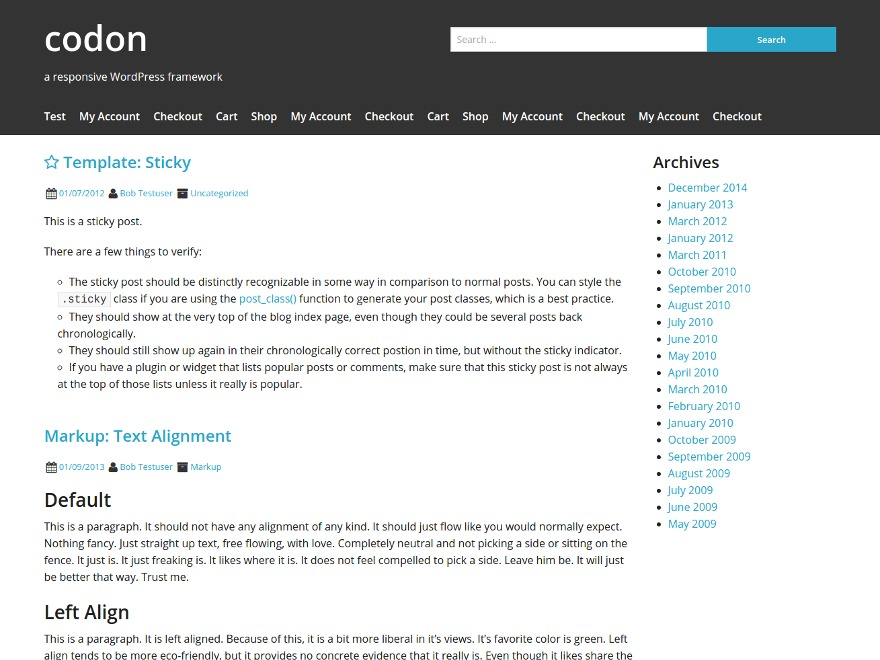 Codon theme WordPress