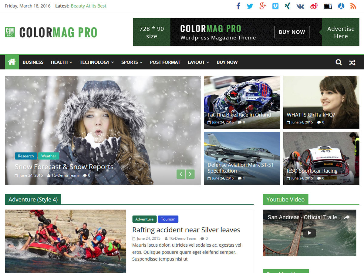 ColorMag Pro WordPress page template