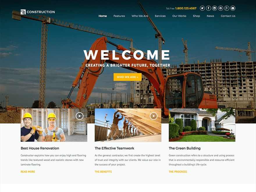Construction WordPress template for business