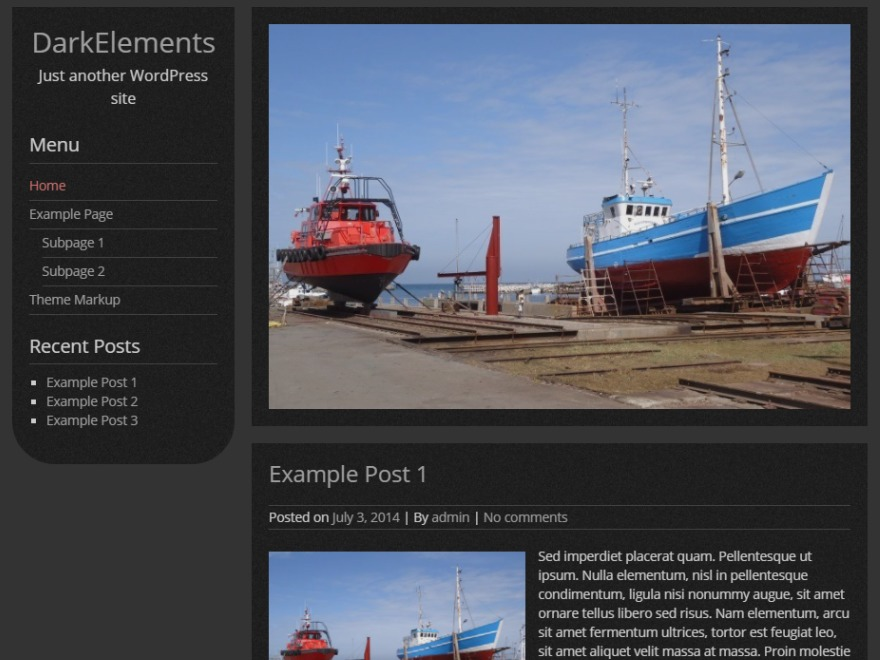 DarkElements free WP theme