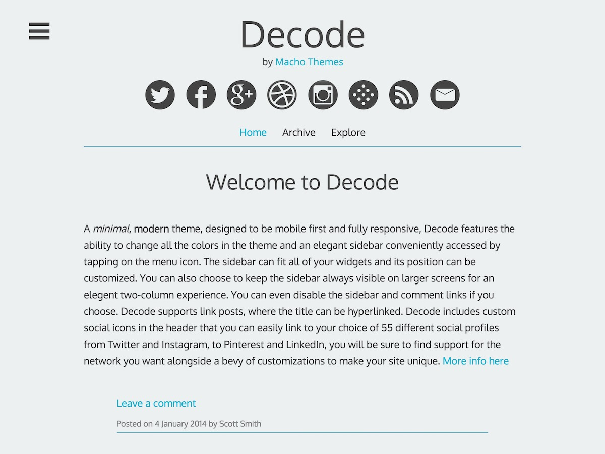 Decode free WP theme