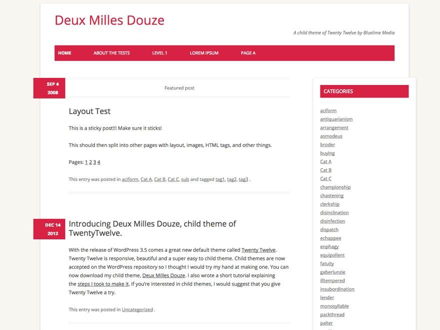 Deux Milles Douze best WordPress template