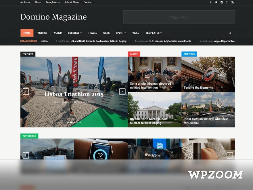 Domino Magazine newspaper WordPress theme