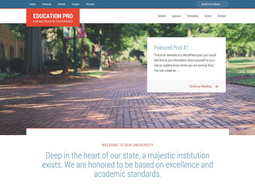 Education Pro Theme WordPress theme design