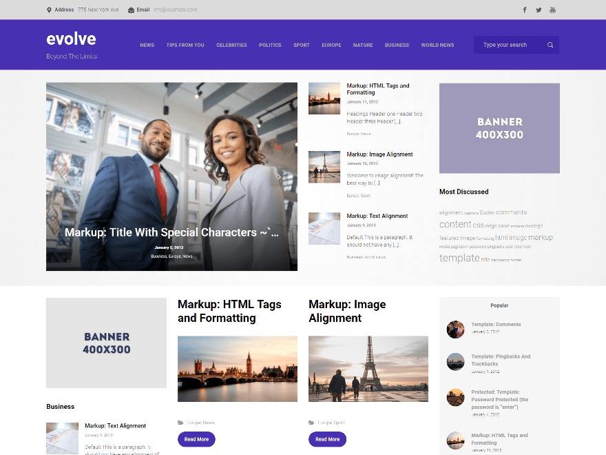 evolve WordPress ecommerce template