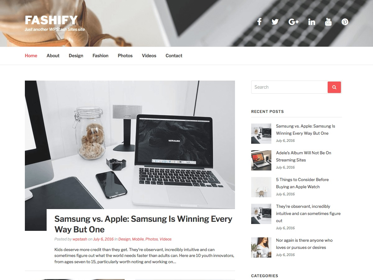 Fashify free website theme
