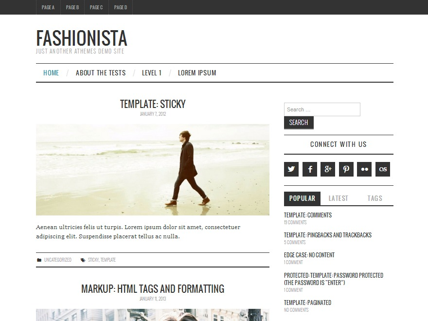 Fashionistas WordPress blog template