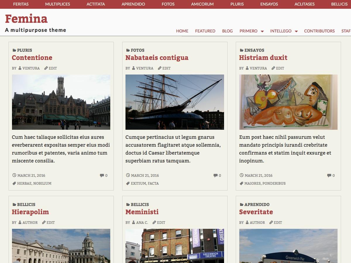 Femina free website theme