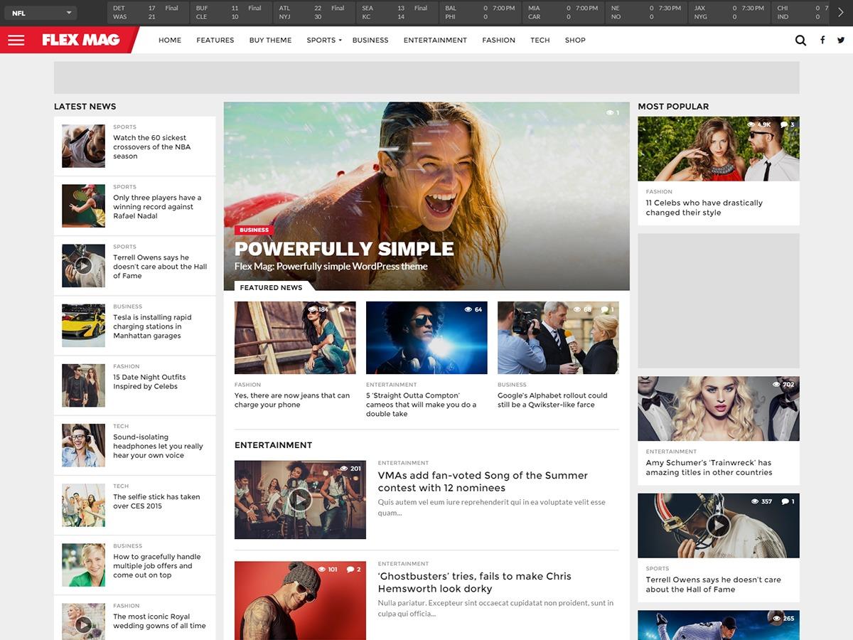 Flex Mag newspaper WordPress theme
