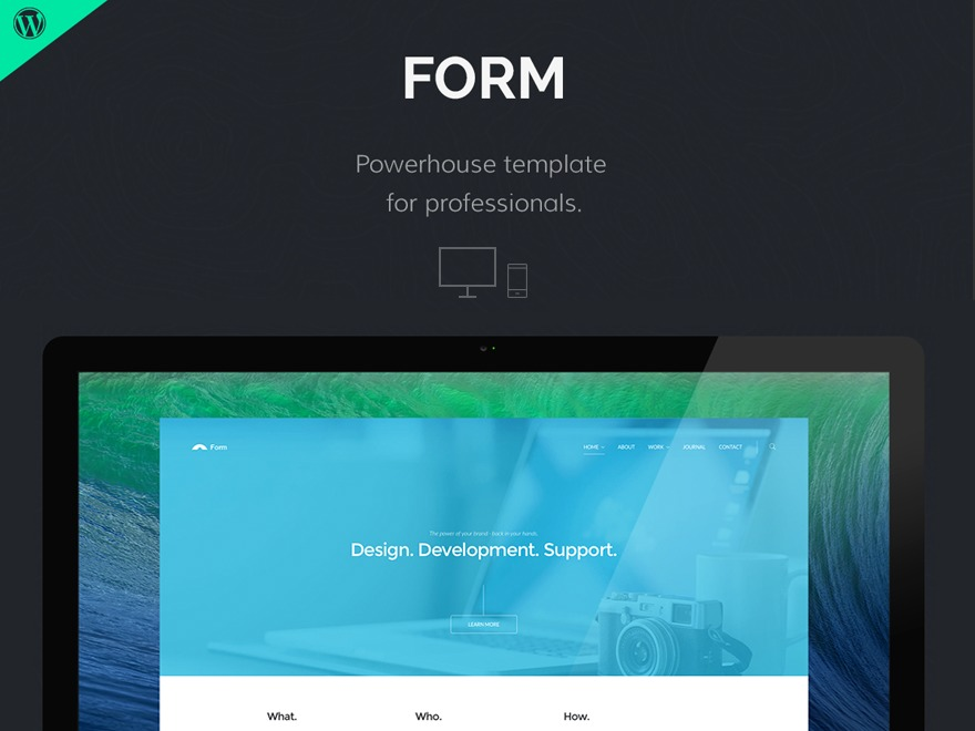 Form WordPress portfolio template