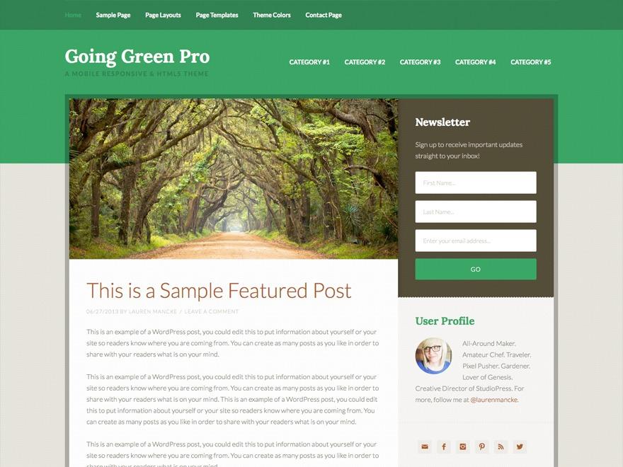 Going Green Pro Theme WP theme
