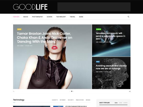 GoodLife Child Theme WordPress news template