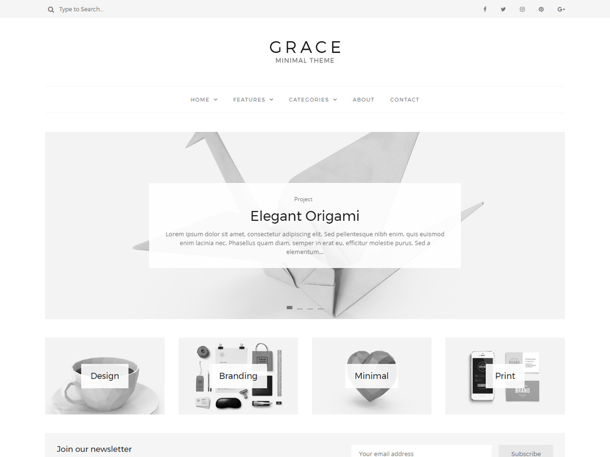 Grace - Minimal Theme WordPress website template