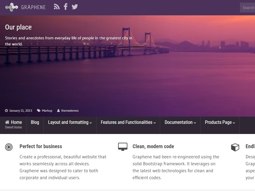 Graphene free WP theme