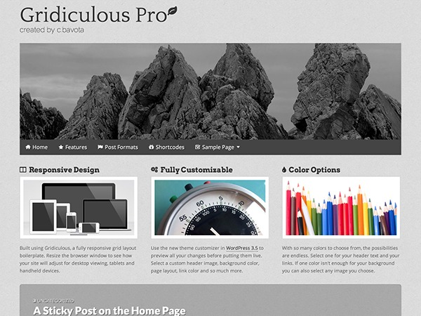 Gridiculous Pro wallpapers WordPress theme