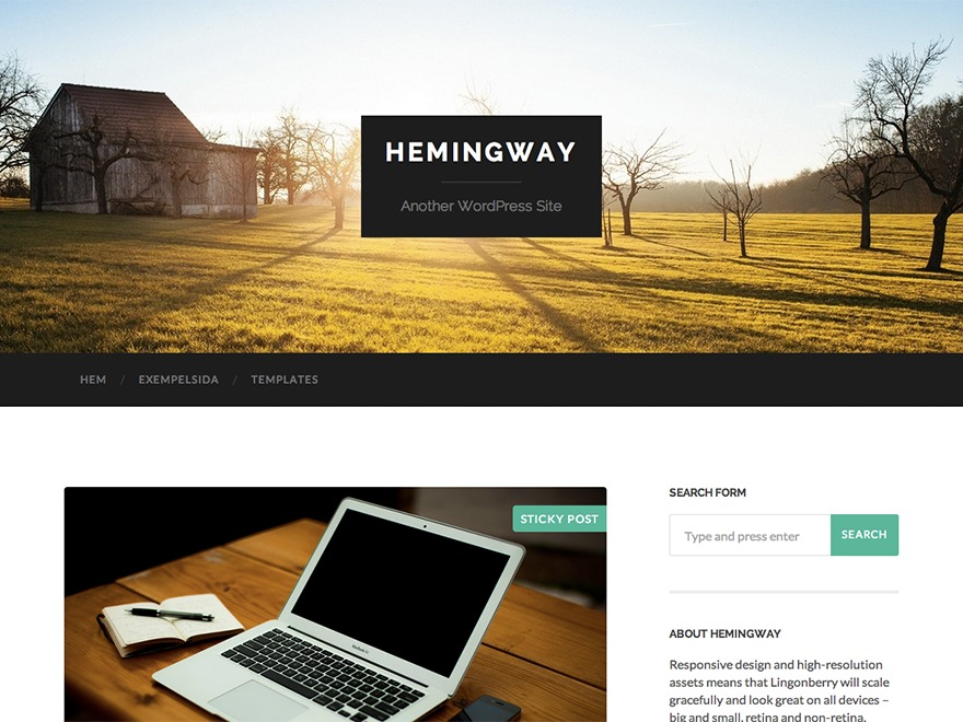 Hemingway best free WordPress theme