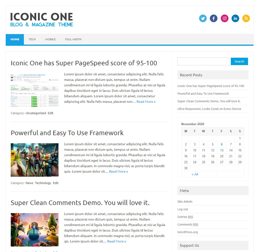 Iconic One free WP theme