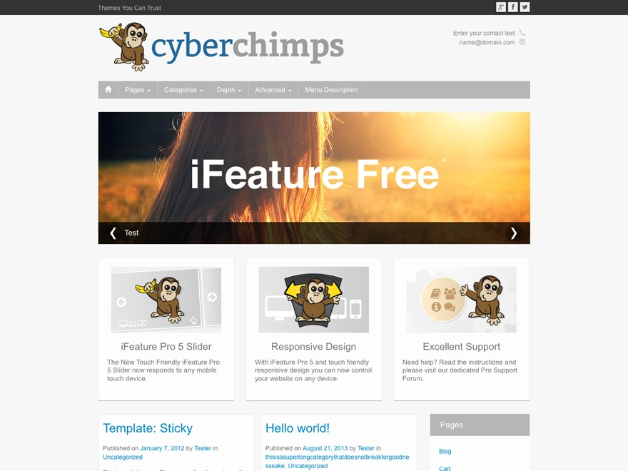 iFeature best free WordPress theme