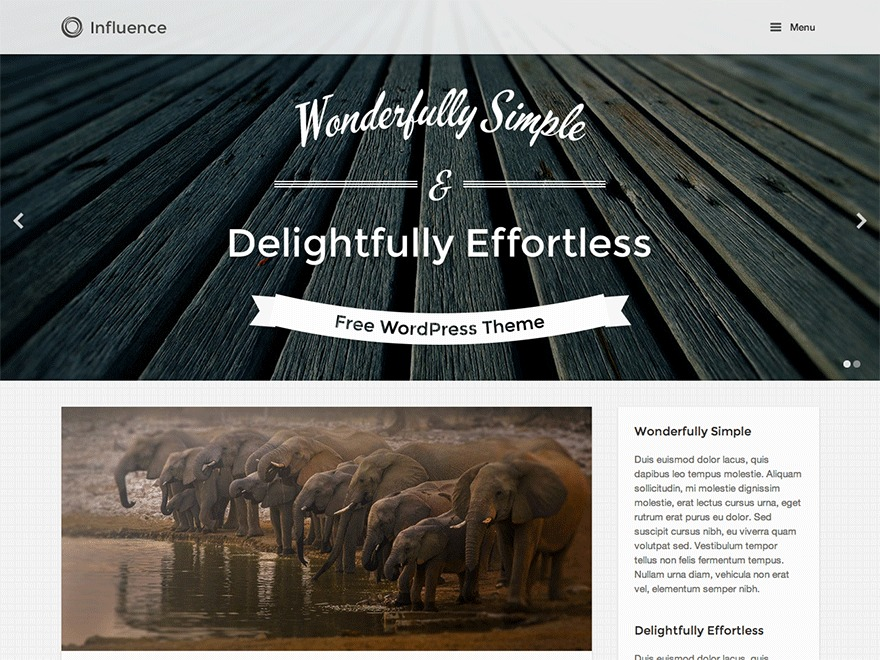 Influence template WordPress free