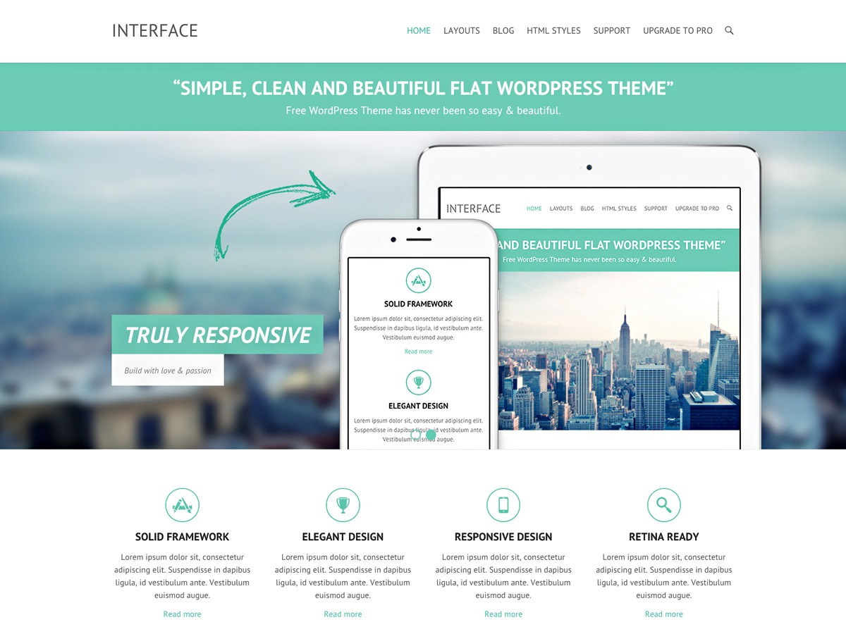 Interface template WordPress free