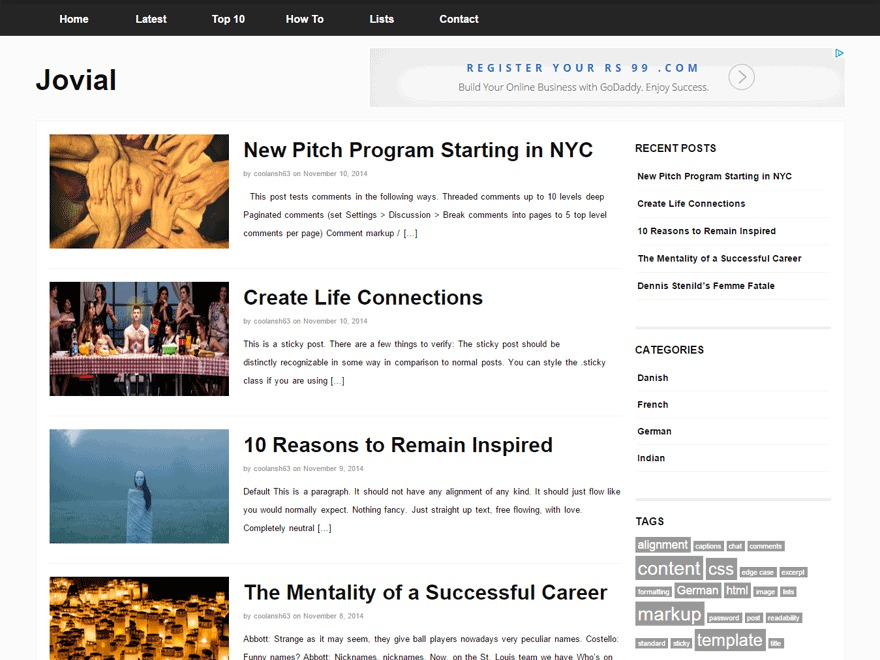 Jovial WordPress news theme