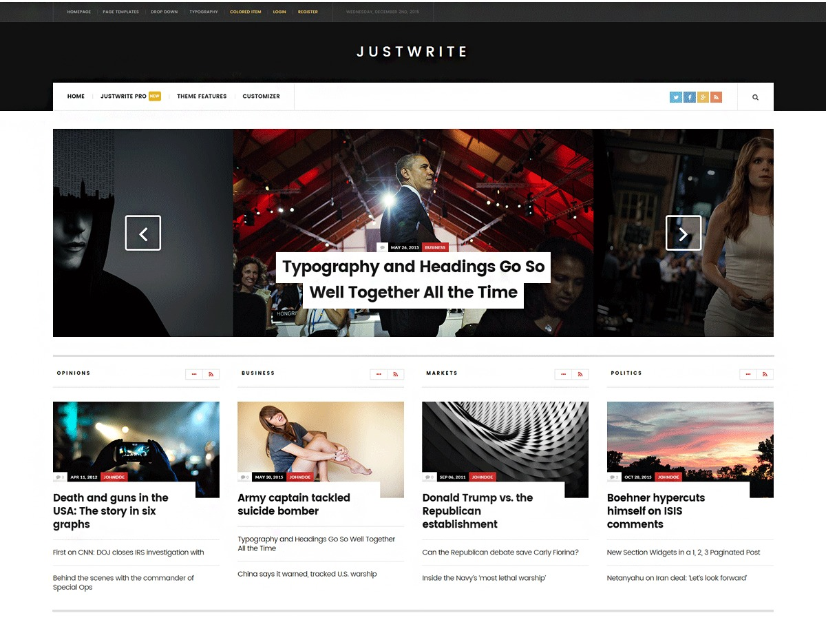 JustWrite theme WordPress free