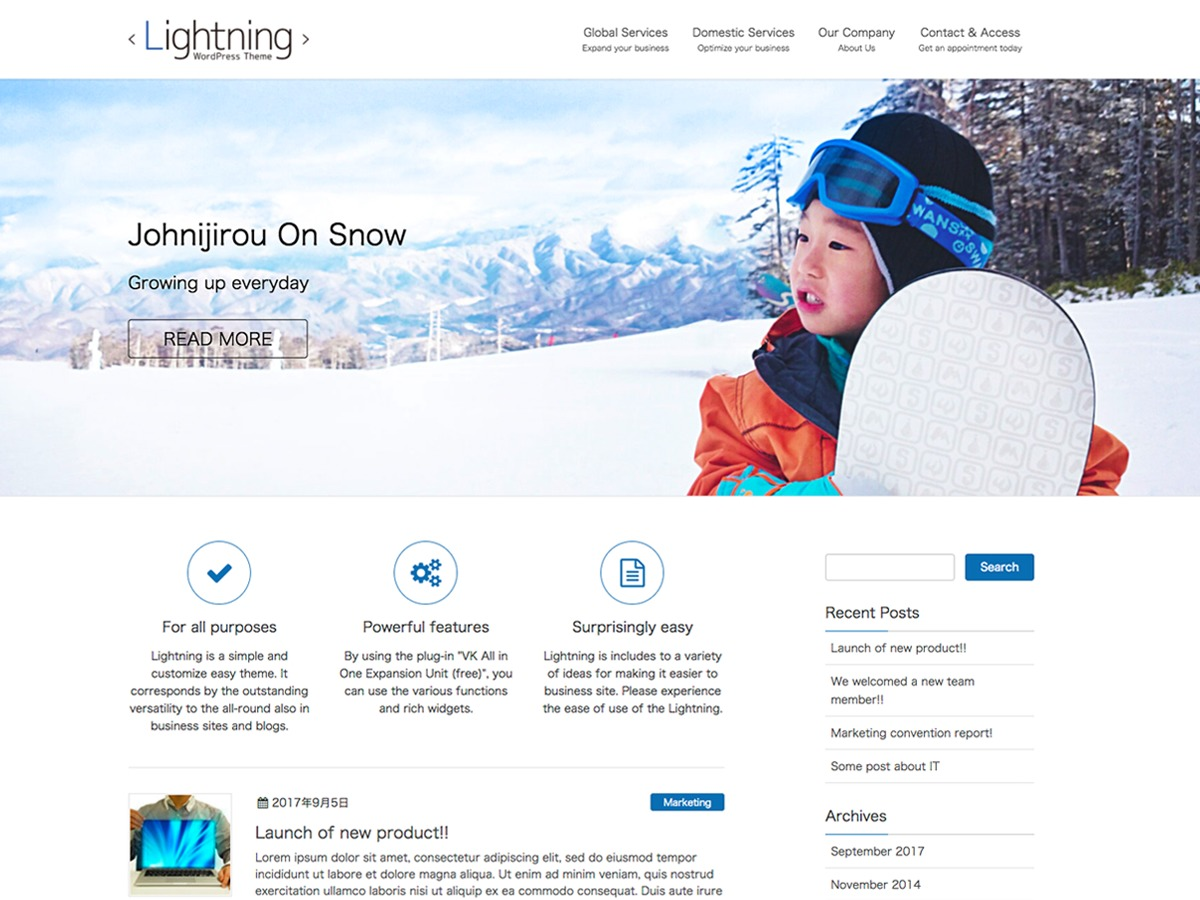 Lightning free website theme