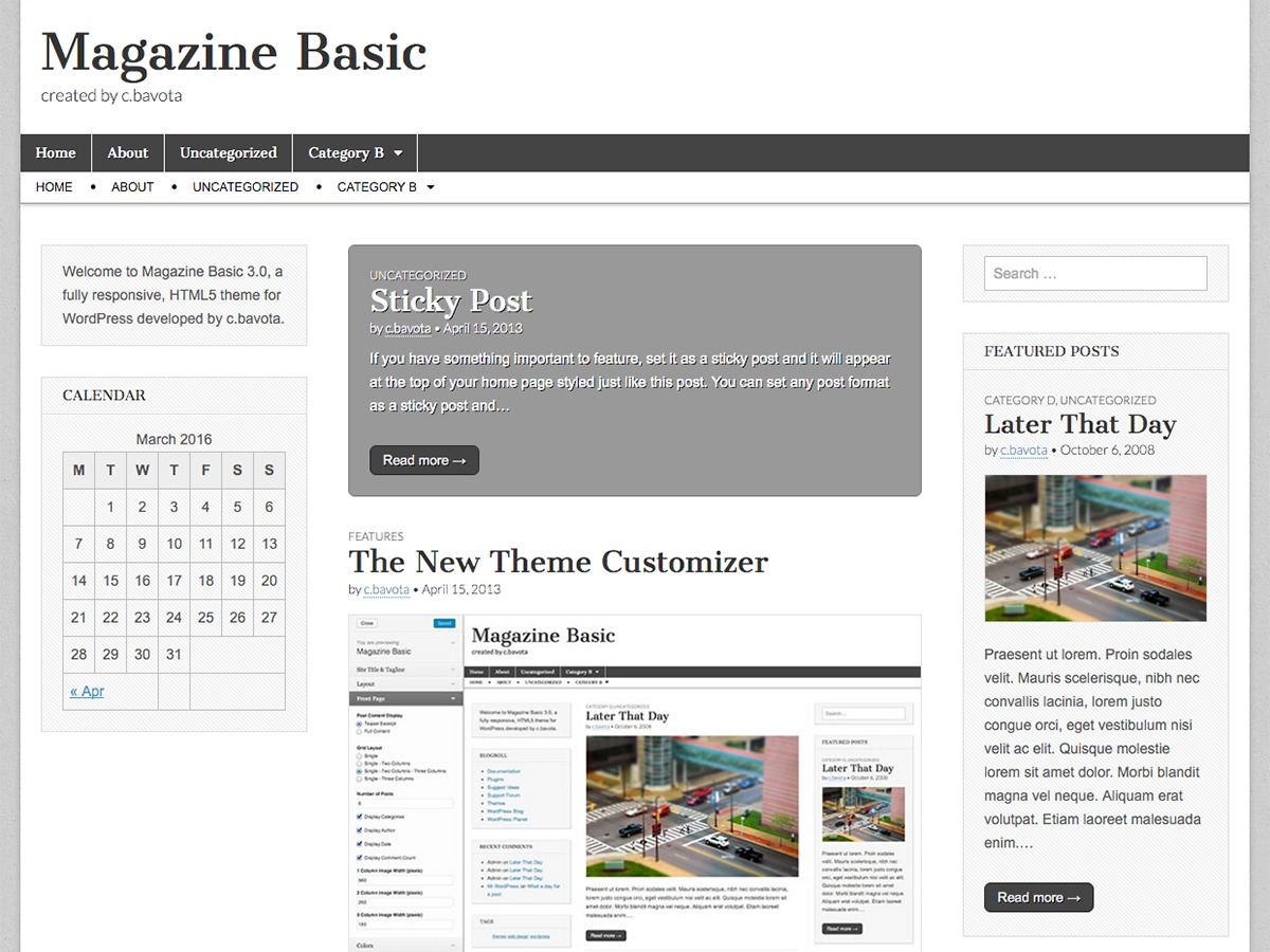 Magazine Basic WordPress news template