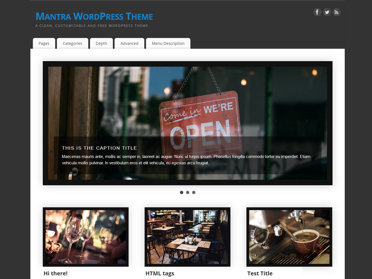 Mantra WordPress template free download